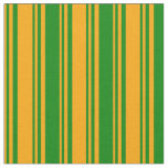 [ Thumbnail: Orange and Green Colored Lines Fabric ]