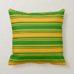 [ Thumbnail: Orange and Green Colored Lines Throw Pillow ]