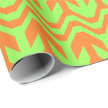 Orange and Green Double Arrow Wave Pattern Wrapping Paper