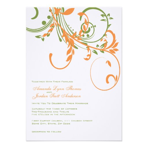 Orange and Green Double Floral Wedding Invitation