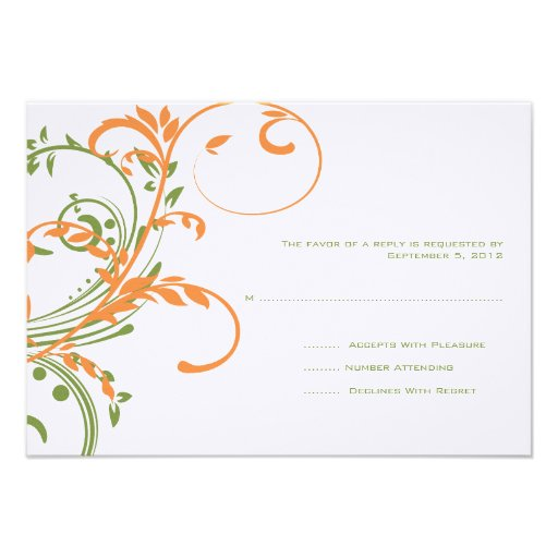 Orange and Green Double Floral Wedding RSVP Custom Invitation