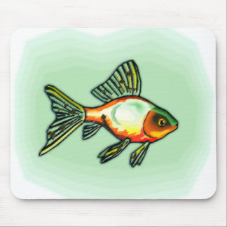 Orange and Green Fish Mouse Pad
