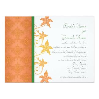 Orange and Green Floral Damask Wedding Invitations