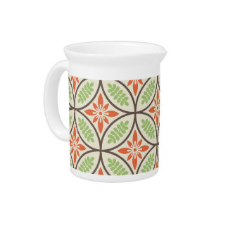 Orange and Green Floral Pattern Drink Pitcher