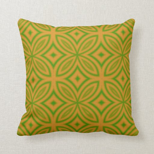 Orange and green geometric flower abstract pattern throw pillows Zazzle