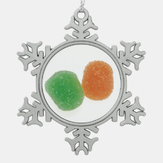 Orange and Green Gumdrops Snowflake Pewter Christmas Ornament