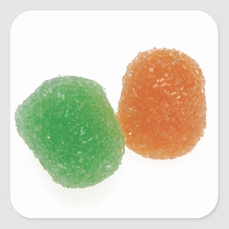 Orange and Green Gumdrops Square Sticker