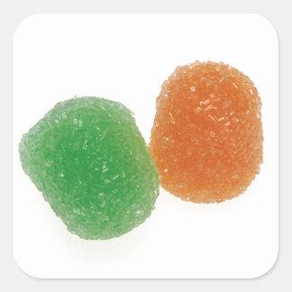 Orange and Green Gumdrops Square Sticker