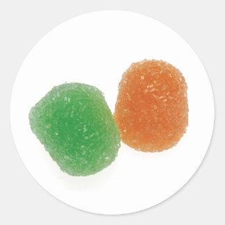 Orange and Green Gumdrops Classic Round Sticker
