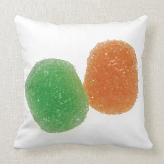 Orange and Green Gumdrops Throw Pillow