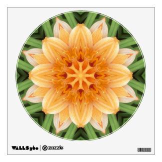 Orange and Green Kaleidoscope Flower Circle Wall Sticker