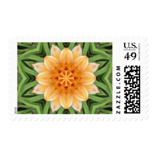 Orange and Green Kaleidoscope Flower Postage