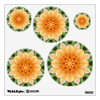 Orange and Green Kaleidoscope Flower Small Circles Wall Decal
