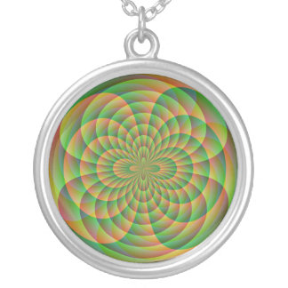 Orange and Green Kaleidoscope Silver Plated Necklace
