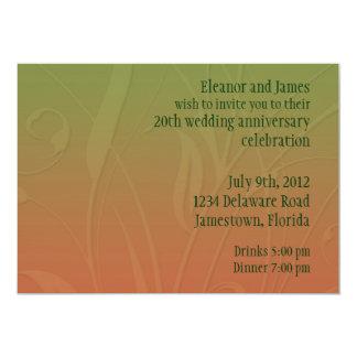 Orange and Green Leaf Swirls Customizable Template Card