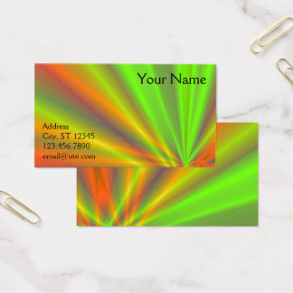 Orange and Green Light Show Fractal Art Business Card