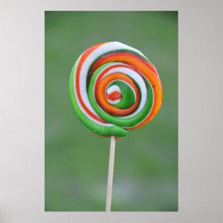 Orange and green lollipop poster