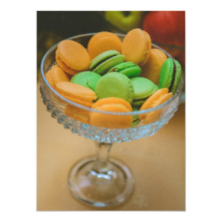 "Orange and green macaroons 6.5"" x 8.75"" invitation card"