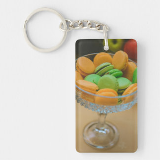 Orange and green macaroons acrylic key chains