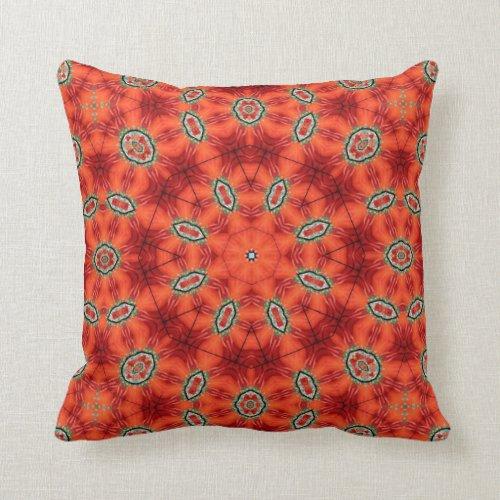 Orange and Green Mandala Pattern Throw Pillow
