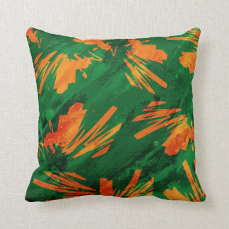 Orange and Green Native Splash Abstract Pillow