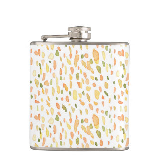 Orange and Green Painted Hip Flasks