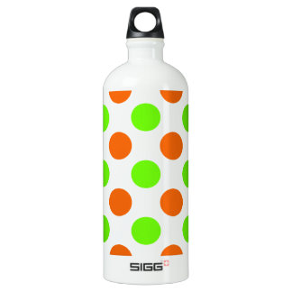 Orange and Green Polka Dots Aluminum Water Bottle