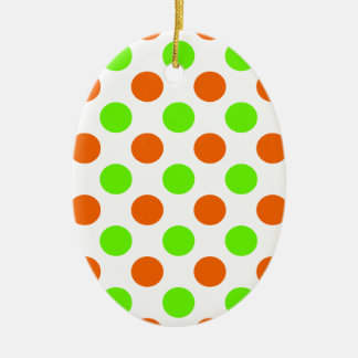 Orange and Green Polka Dots Ceramic Ornament