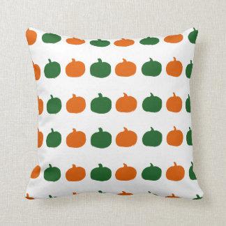 orange and green pumpkins throw pillow