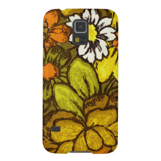 Orange and Green Retro Floral Pattern Galaxy S5 Cover
