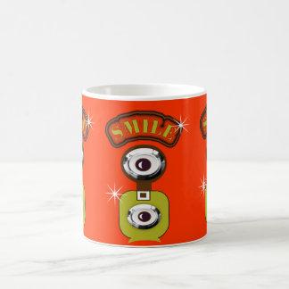 Orange and Green Retro Photography Camera SMILE Classic White Coffee Mug