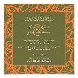 Orange and Green Sketchy Frame Wedding Invitation