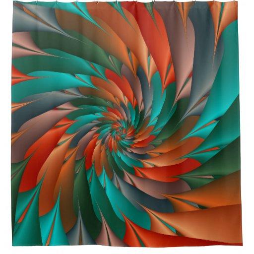 Orange And Green Spiral Fractal Shower Curtain Zazzle