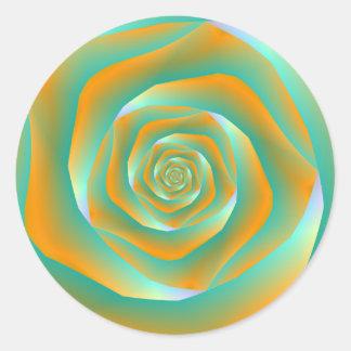 Orange and Green Spiral Rose Round Sticker