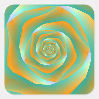 Orange and Green Spiral Rose Sticker