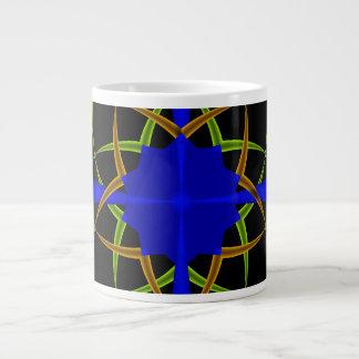Orange and Green Ten Point Star Fractal Giant Coffee Mug