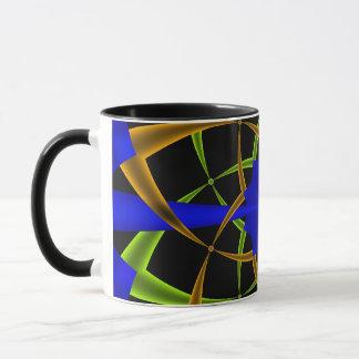 Orange and Green Ten Point Star Fractal Mug