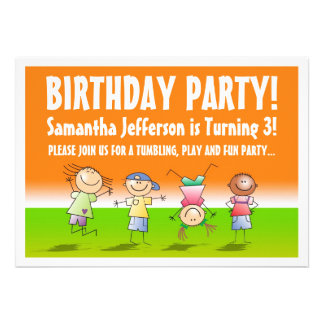 Orange and Green Tumbling Gym Party Invitations