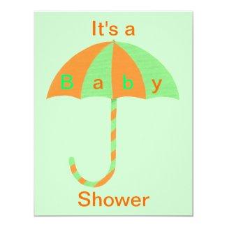 Orange and Green Umbrella Baby Shower Invitations