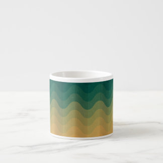 Orange and Green Waves Abstract Pattern Espresso Cup