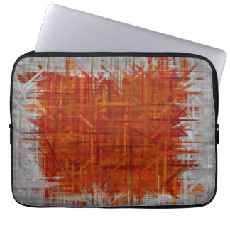 Orange and Grey Abstract Art Painting Computer Sleeves