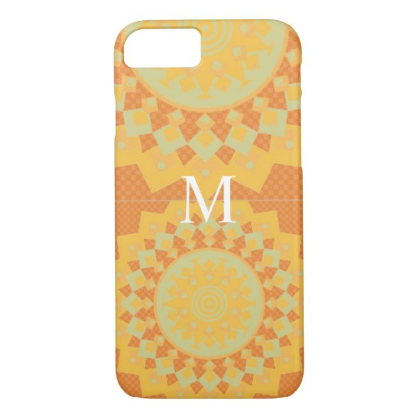 Orange And Grey Aztec  Abstract Art  i Phone case