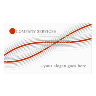 Orange and grey crossed curved lines and circle business card template