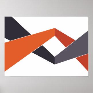 Orange and Grey Geometric Poster