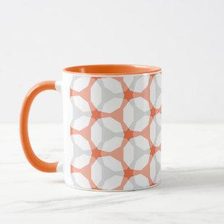 Orange and Grey Mesh Geometric Pattern Mug