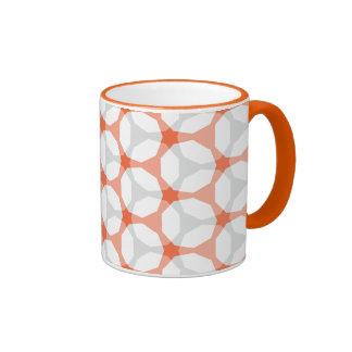 Orange and Grey Mesh Geometric Pattern Ringer Coffee Mug