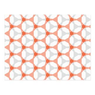 Orange and Grey Mesh Geometric Pattern Postcard