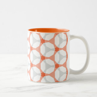 Orange and Grey Mesh Geometric Pattern Two-Tone Coffee Mug