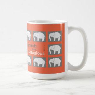 "Orange and grey mug: ""Elephants are contagious"" Coffee Mug"