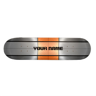 Orange and Grey Shiny Stainless Steel Metal 2 Skateboard